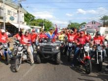 Los motorizados estuvieron presente junto al Psuvista Gustavo Muñiz