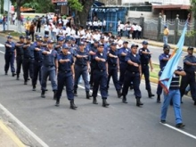 Cuerpo de Bomberos de Piar durante el ensayo.