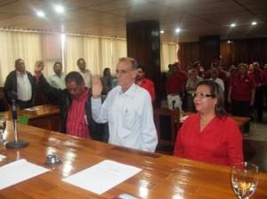 Concejal Othoniel Vargas 2do Vicepresidente, Concejal Gustavo Muñiz Hennig presidente y Concejal Eunice Ríos 1era Vice Presidente del Concejo Municipal de Piar.